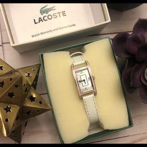 White band Lacoste rectangular women's watch, NIB
